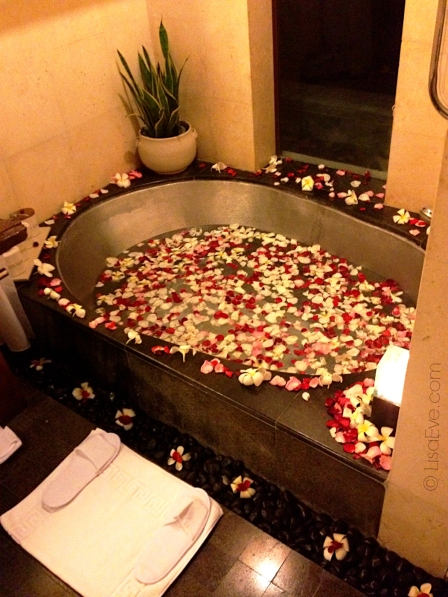 I decide to treat myself to a rose petal and plumeria bath. I felt like a Goddess!